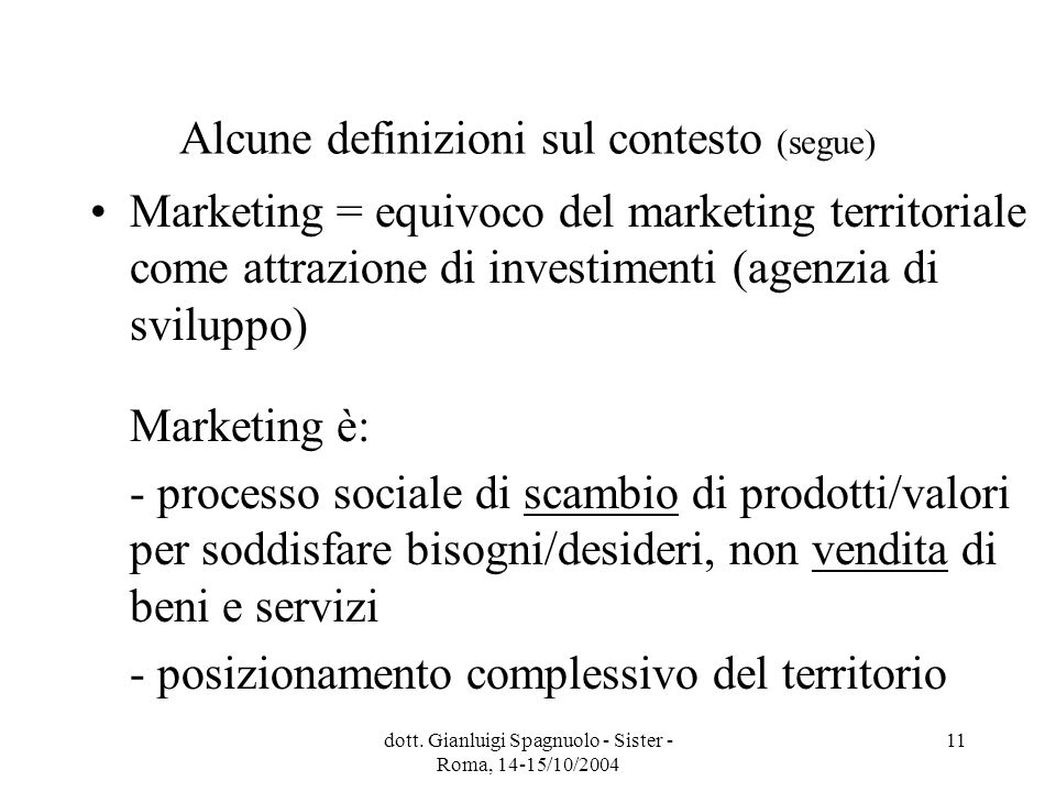 dott. Gianluigi Spagnuolo - Sister - Roma, 14-15/10/2004 11 Alcune definizioni sul contesto (segue) Marketing = equivoco del marketing territoriale co