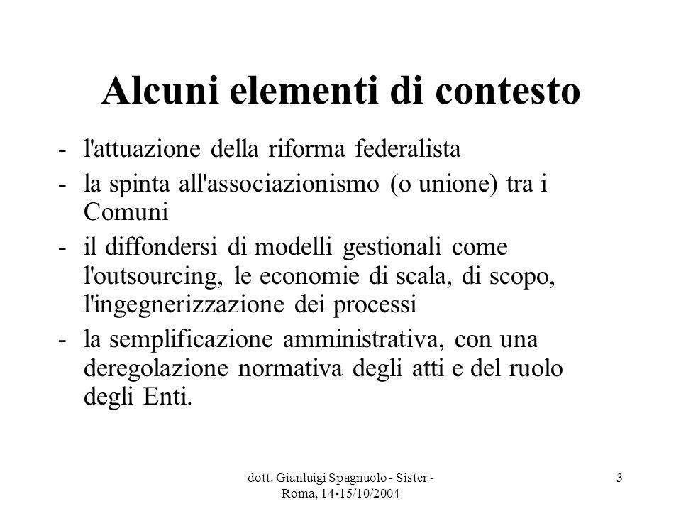 dott. Gianluigi Spagnuolo - Sister - Roma, 14-15/10/2004 3 Alcuni elementi di contesto - l'attuazione della riforma federalista - la spinta all'associ