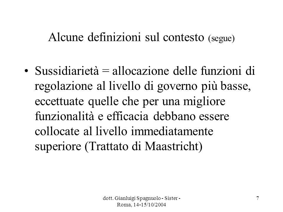 dott. Gianluigi Spagnuolo - Sister - Roma, 14-15/10/2004 7 Alcune definizioni sul contesto (segue) Sussidiarietà = allocazione delle funzioni di regol