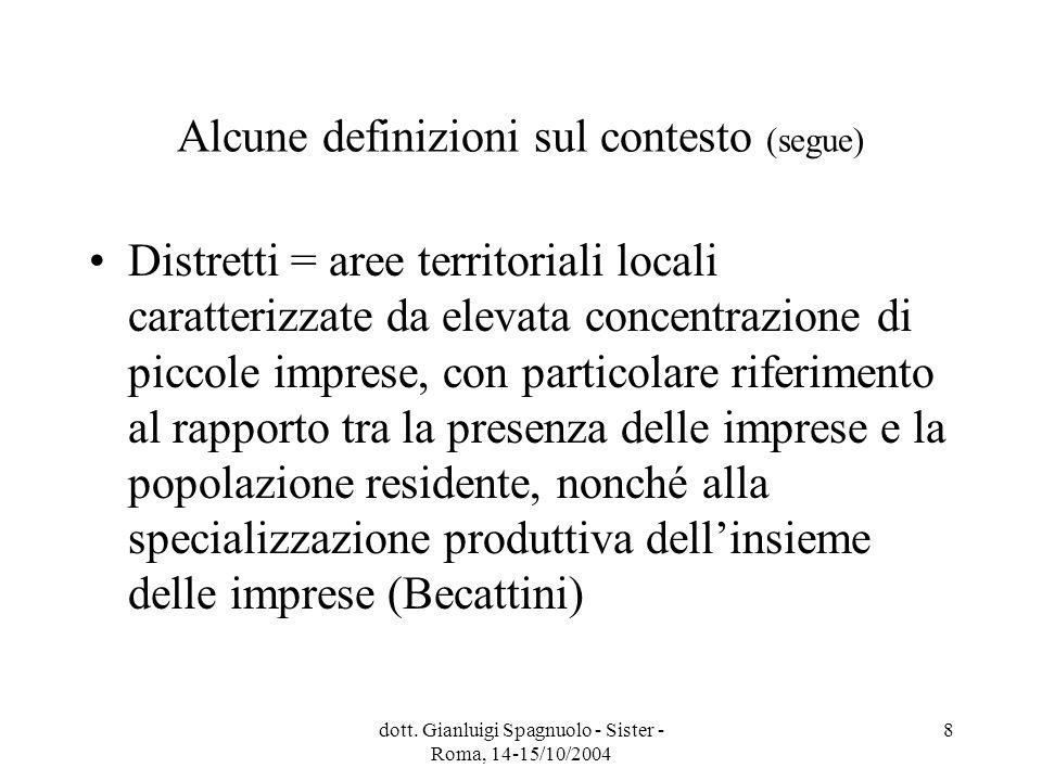 dott. Gianluigi Spagnuolo - Sister - Roma, 14-15/10/2004 8 Alcune definizioni sul contesto (segue) Distretti = aree territoriali locali caratterizzate