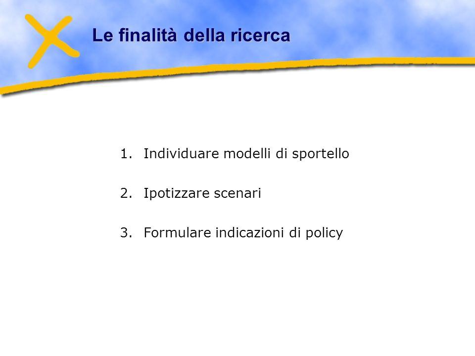 Le finalità della ricerca 1.Individuare modelli di sportello 2.Ipotizzare scenari 3.Formulare indicazioni di policy