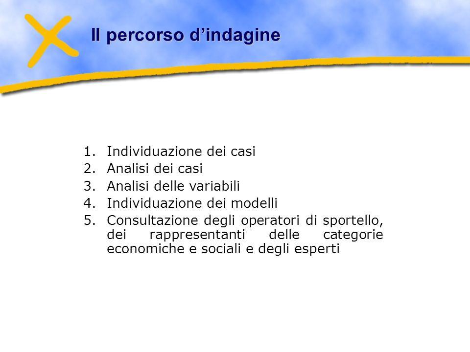 Il percorso dindagine 1.Individuazione dei casi 2.Analisi dei casi 3.Analisi delle variabili 4.Individuazione dei modelli 5.Consultazione degli operatori di sportello, dei rappresentanti delle categorie economiche e sociali e degli esperti