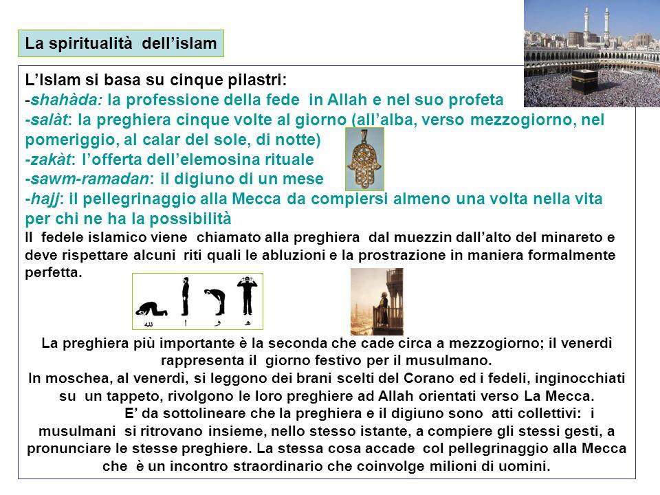 La spiritualità dellislam LIslam si basa su cinque pilastri: -shahàda: la professione della fede in Allah e nel suo profeta -salàt: la preghiera cinqu