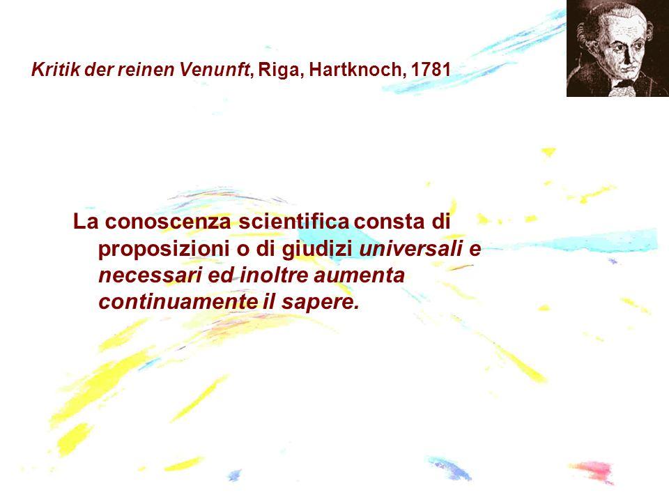 Kritik der reinen Venunft, Riga, Hartknoch, 1781 La conoscenza scientifica consta di proposizioni o di giudizi universali e necessari ed inoltre aumen