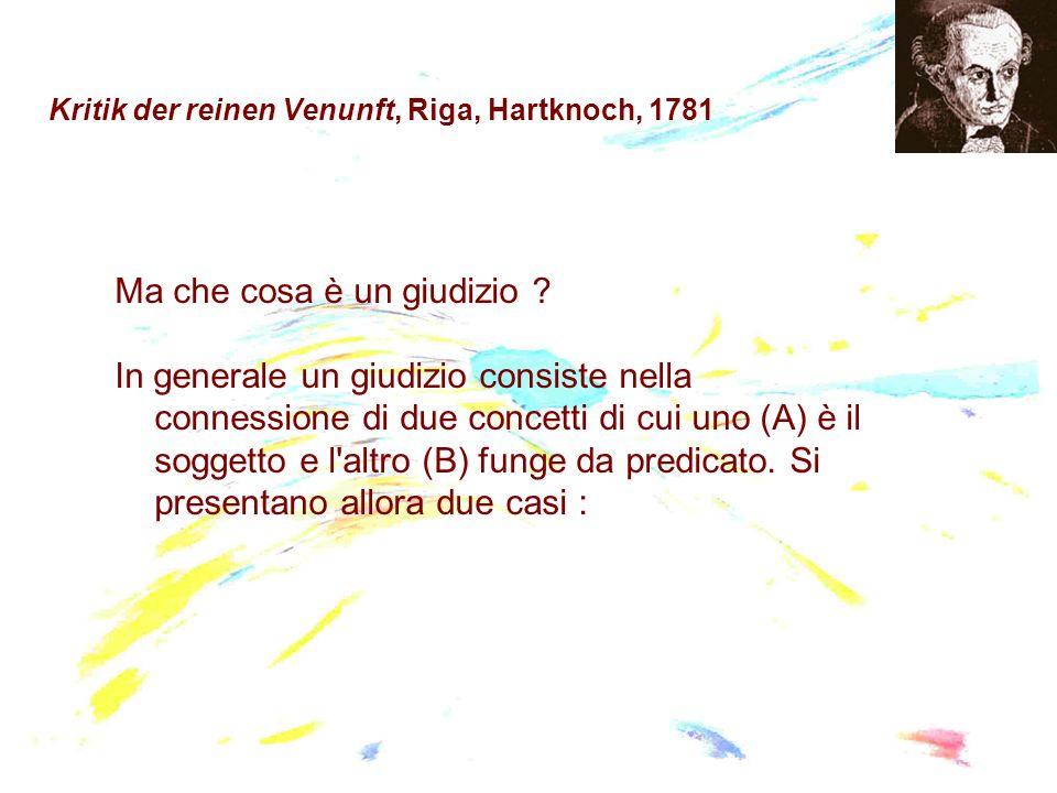 Kritik der reinen Venunft, Riga, Hartknoch, 1781 Ma che cosa è un giudizio ? In generale un giudizio consiste nella connessione di due concetti di cui