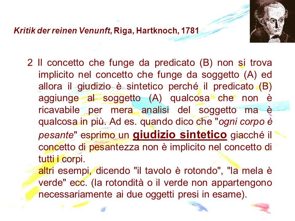 Kritik der reinen Venunft, Riga, Hartknoch, 1781 2 Il concetto che funge da predicato (B) non si trova implicito nel concetto che funge da soggetto (A