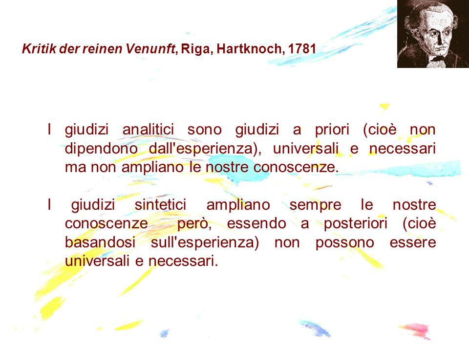 Kritik der reinen Venunft, Riga, Hartknoch, 1781 I giudizi analitici sono giudizi a priori (cioè non dipendono dall'esperienza), universali e necessar