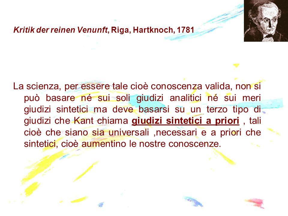 Kritik der reinen Venunft, Riga, Hartknoch, 1781 La scienza, per essere tale cioè conoscenza valida, non si può basare né sui soli giudizi analitici n