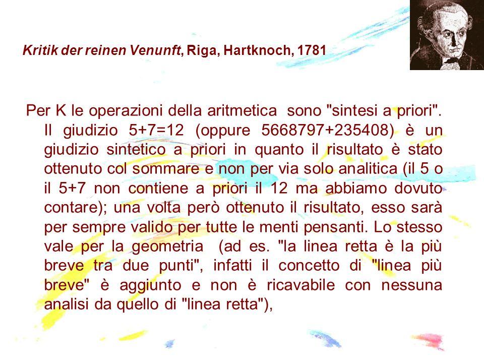 Kritik der reinen Venunft, Riga, Hartknoch, 1781 Per K le operazioni della aritmetica sono