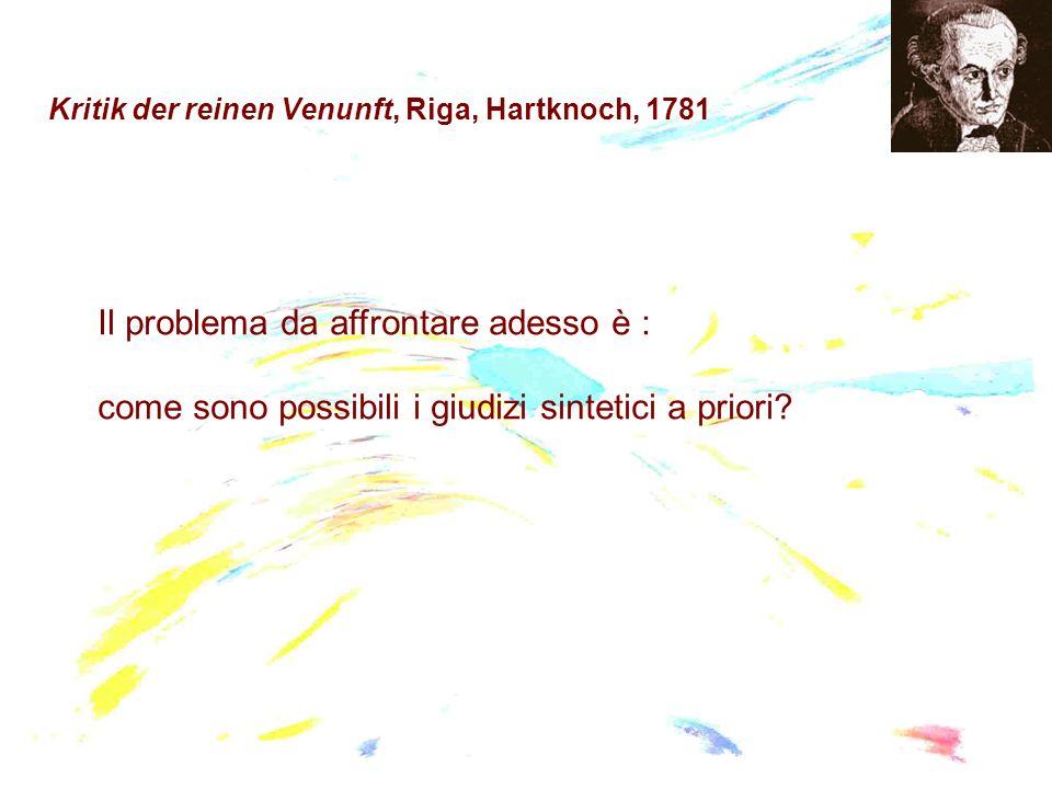 Kritik der reinen Venunft, Riga, Hartknoch, 1781 Il problema da affrontare adesso è : come sono possibili i giudizi sintetici a priori?
