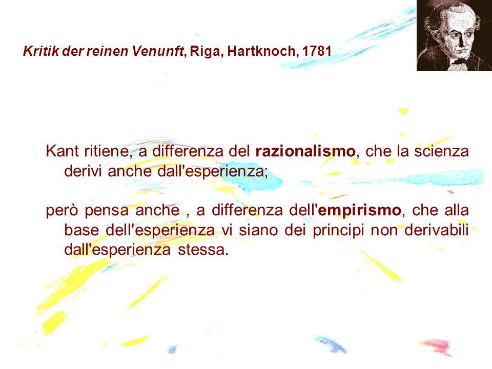 Kritik der reinen Venunft, Riga, Hartknoch, 1781 Kant ritiene, a differenza del razionalismo, che la scienza derivi anche dall'esperienza; però pensa