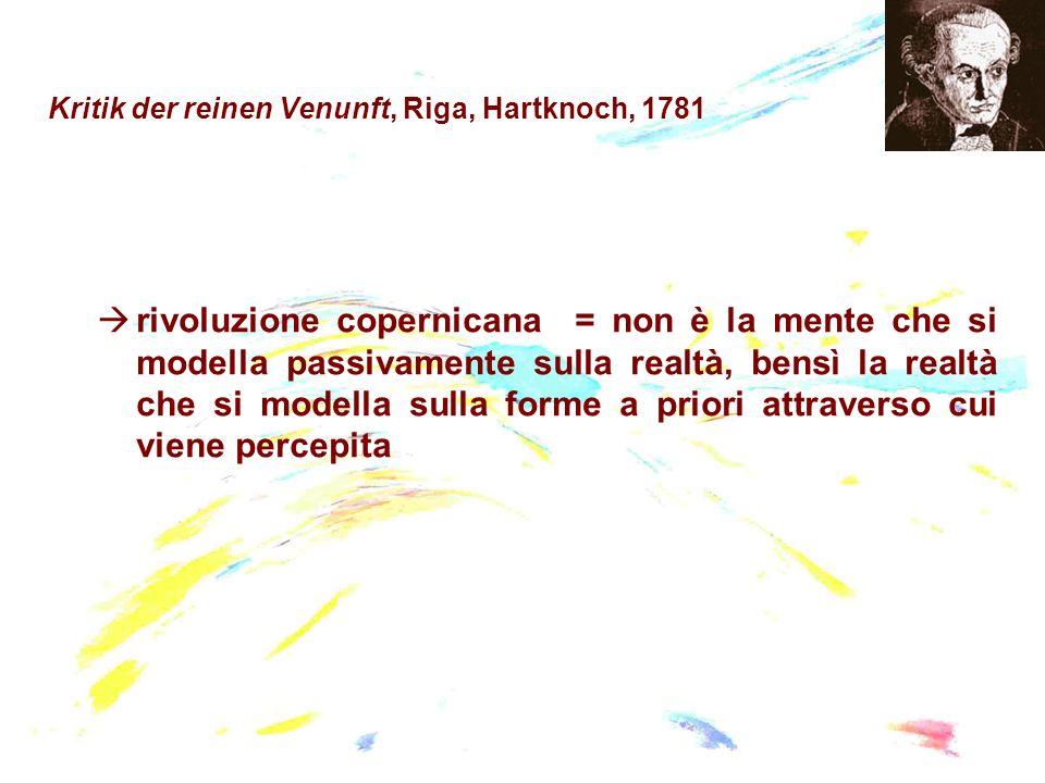 Kritik der reinen Venunft, Riga, Hartknoch, 1781 rivoluzione copernicana = non è la mente che si modella passivamente sulla realtà, bensì la realtà ch