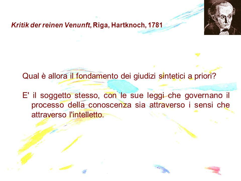 Kritik der reinen Venunft, Riga, Hartknoch, 1781 Qual è allora il fondamento dei giudizi sintetici a priori? E' il soggetto stesso, con le sue leggi c