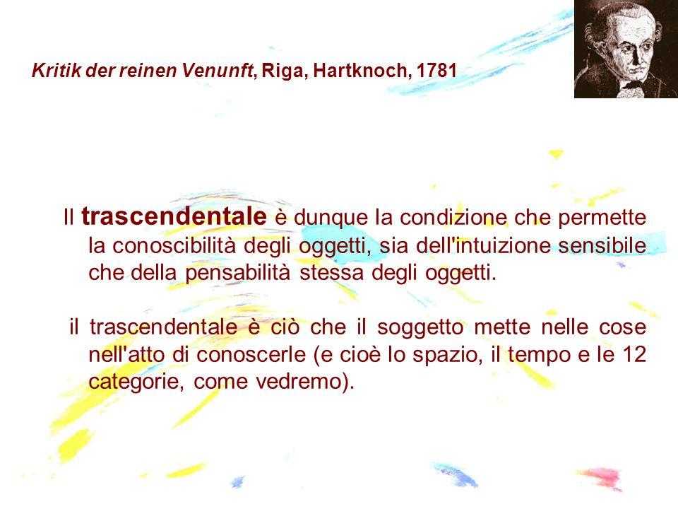 Kritik der reinen Venunft, Riga, Hartknoch, 1781 Il trascendentale è dunque la condizione che permette la conoscibilità degli oggetti, sia dell'intuiz