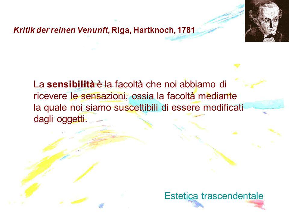 Kritik der reinen Venunft, Riga, Hartknoch, 1781 La sensibilità è la facoltà che noi abbiamo di ricevere le sensazioni, ossia la facoltà mediante la q