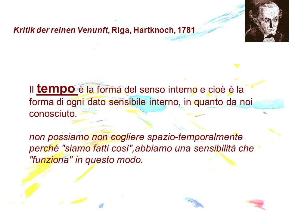 Kritik der reinen Venunft, Riga, Hartknoch, 1781 Il tempo è la forma del senso interno e cioè è la forma di ogni dato sensibile interno, in quanto da