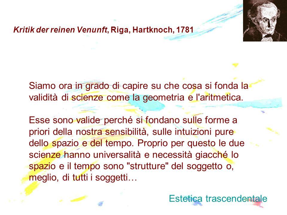 Kritik der reinen Venunft, Riga, Hartknoch, 1781 Siamo ora in grado di capire su che cosa si fonda la validità di scienze come la geometria e l'aritme