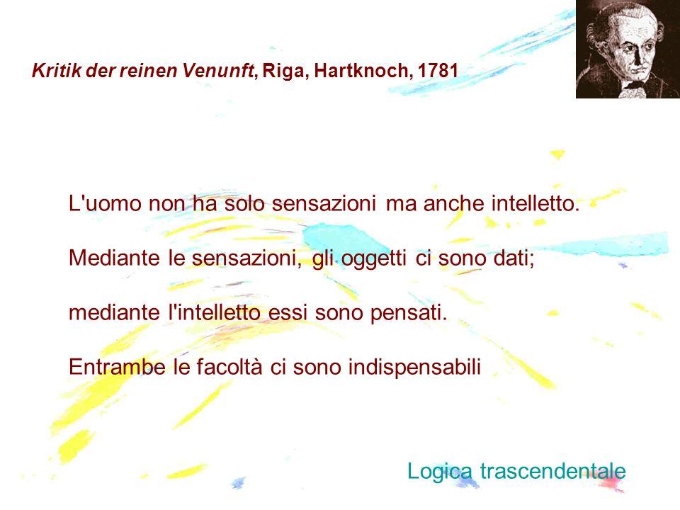 Kritik der reinen Venunft, Riga, Hartknoch, 1781 L'uomo non ha solo sensazioni ma anche intelletto. Mediante le sensazioni, gli oggetti ci sono dati;