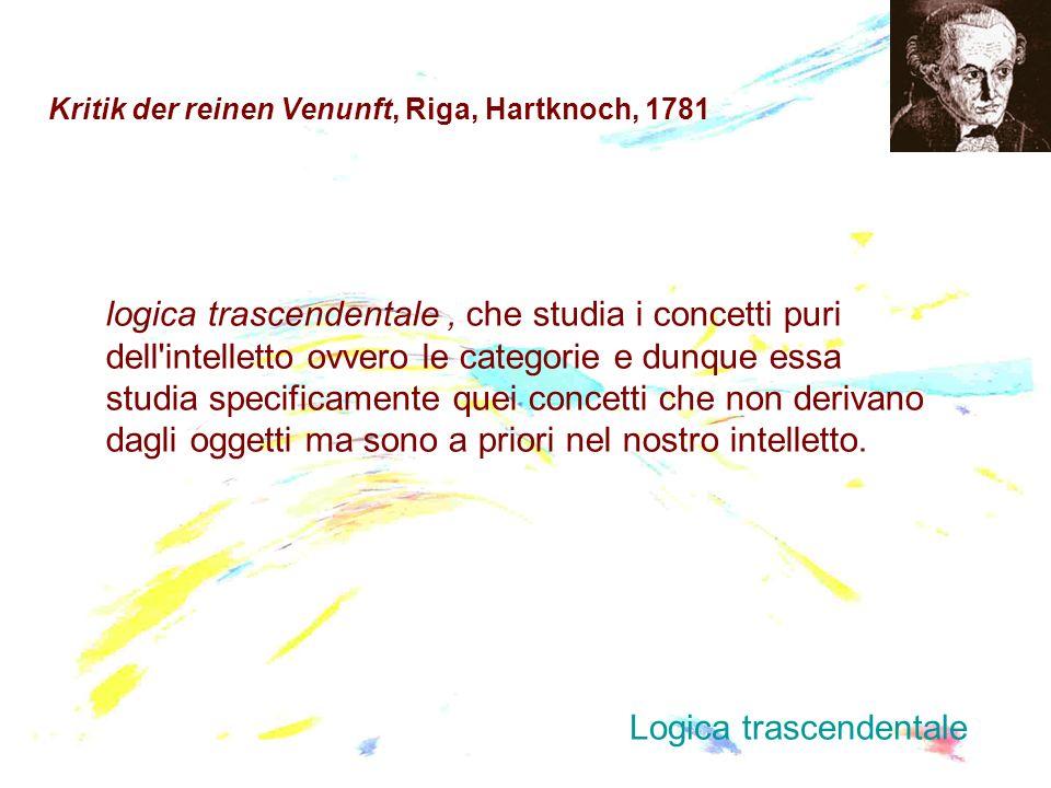 Kritik der reinen Venunft, Riga, Hartknoch, 1781 logica trascendentale, che studia i concetti puri dell'intelletto ovvero le categorie e dunque essa s