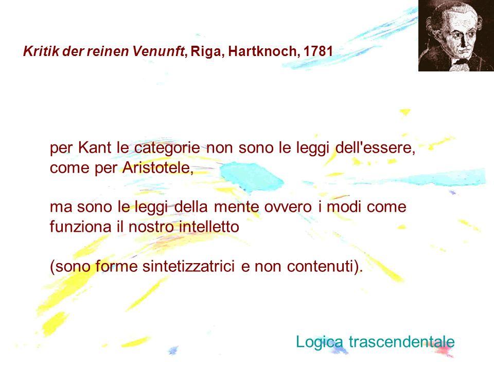 Kritik der reinen Venunft, Riga, Hartknoch, 1781 per Kant le categorie non sono le leggi dell'essere, come per Aristotele, ma sono le leggi della ment