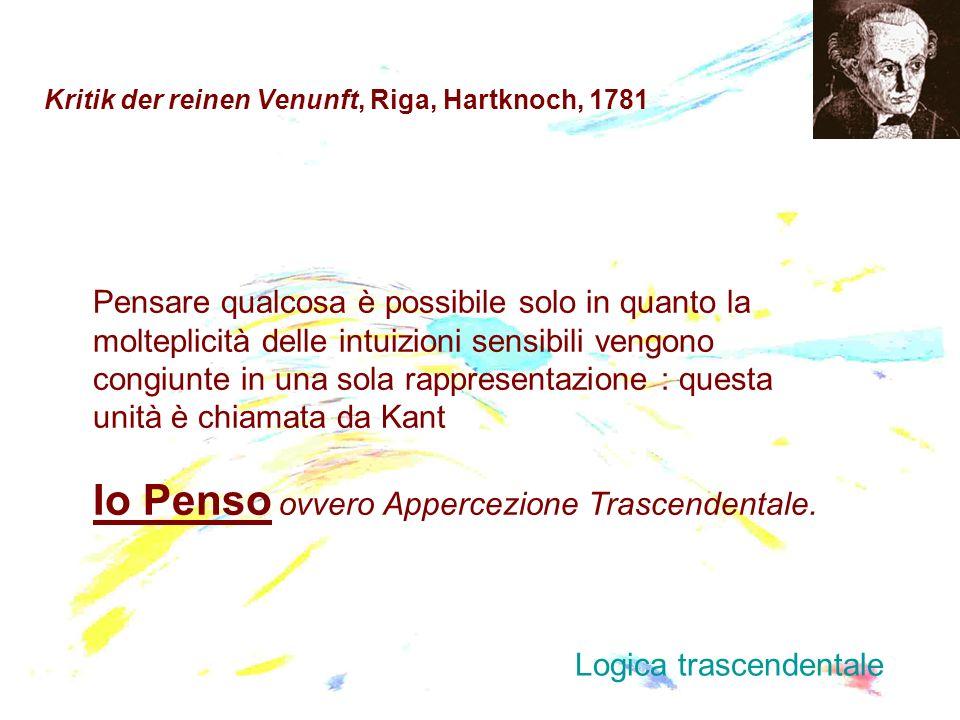Kritik der reinen Venunft, Riga, Hartknoch, 1781 Pensare qualcosa è possibile solo in quanto la molteplicità delle intuizioni sensibili vengono congiu