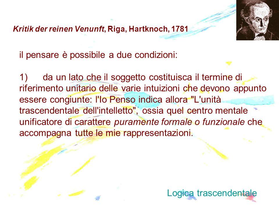 Kritik der reinen Venunft, Riga, Hartknoch, 1781 il pensare è possibile a due condizioni: 1) da un lato che il soggetto costituisca il termine di rife