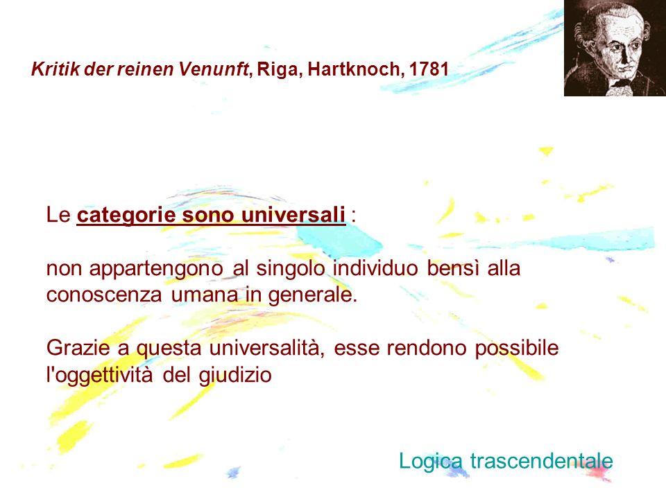 Kritik der reinen Venunft, Riga, Hartknoch, 1781 Le categorie sono universali : non appartengono al singolo individuo bensì alla conoscenza umana in g