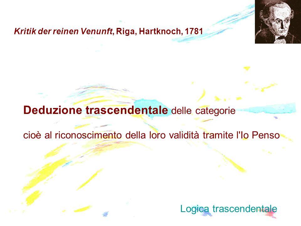 Kritik der reinen Venunft, Riga, Hartknoch, 1781 Deduzione trascendentale delle categorie cioè al riconoscimento della loro validità tramite l'Io Pens