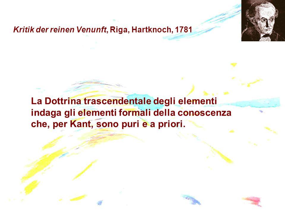 La Dottrina trascendentale degli elementi indaga gli elementi formali della conoscenza che, per Kant, sono puri e a priori.
