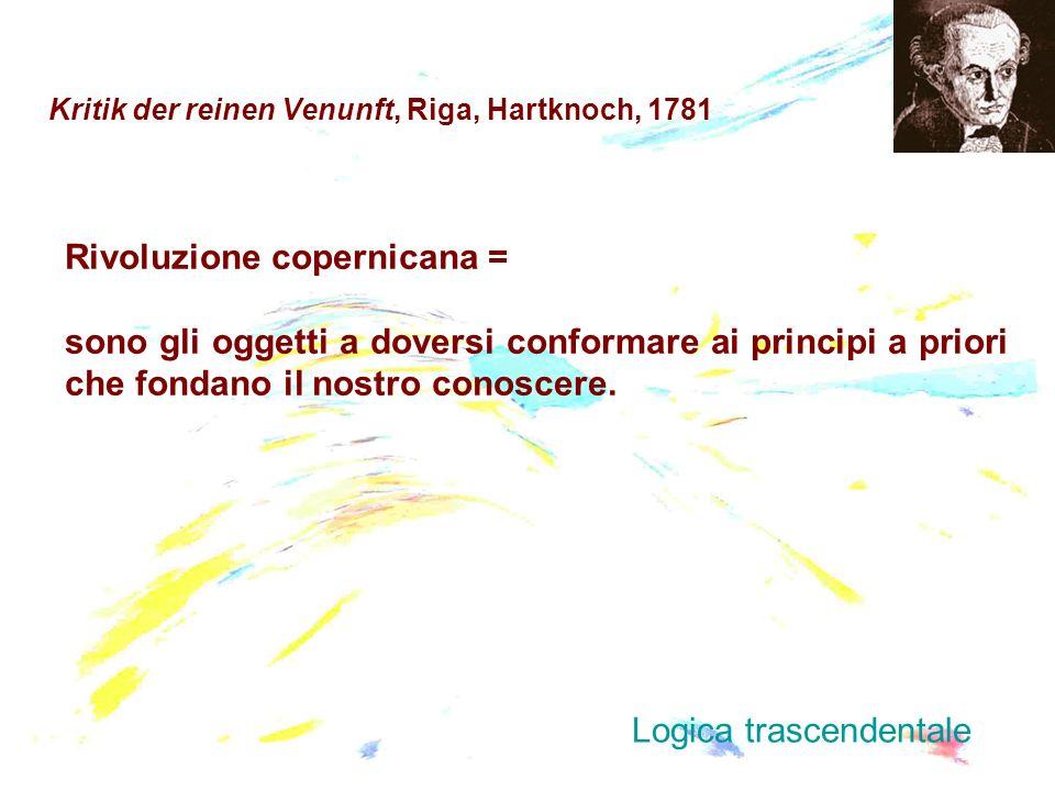 Kritik der reinen Venunft, Riga, Hartknoch, 1781 Rivoluzione copernicana = sono gli oggetti a doversi conformare ai principi a priori che fondano il n