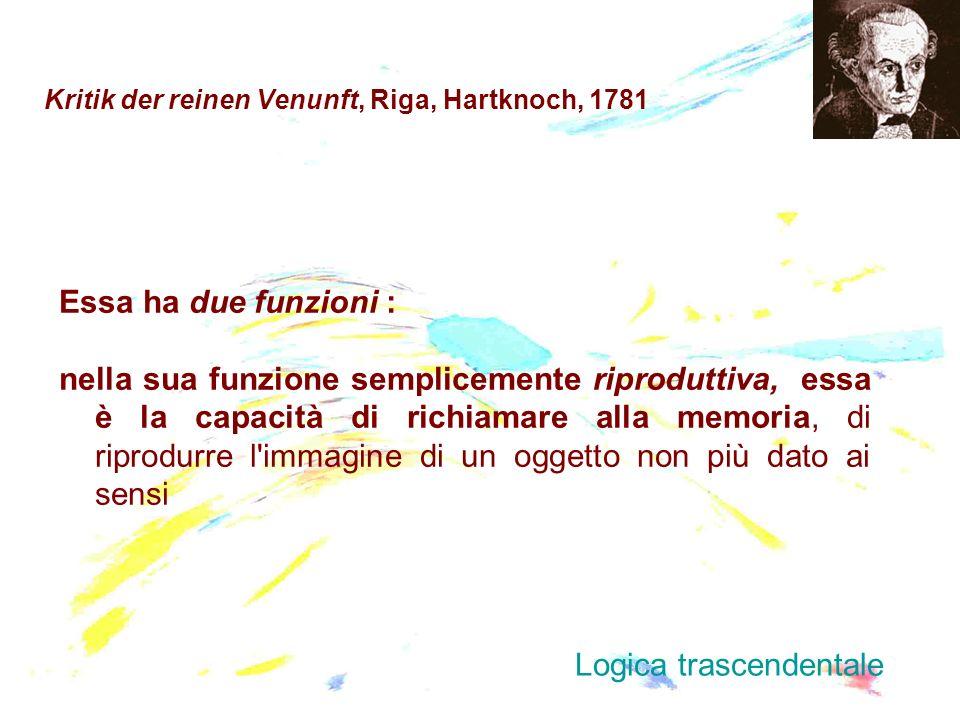 Kritik der reinen Venunft, Riga, Hartknoch, 1781 Essa ha due funzioni : nella sua funzione semplicemente riproduttiva, essa è la capacità di richiamar