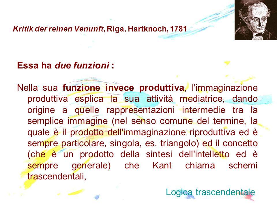 Kritik der reinen Venunft, Riga, Hartknoch, 1781 Essa ha due funzioni : Nella sua funzione invece produttiva, l'immaginazione produttiva esplica la su
