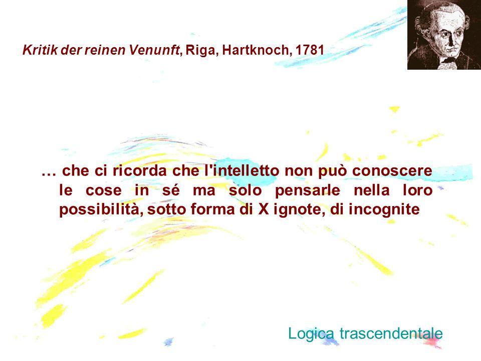 Kritik der reinen Venunft, Riga, Hartknoch, 1781 … che ci ricorda che l'intelletto non può conoscere le cose in sé ma solo pensarle nella loro possibi