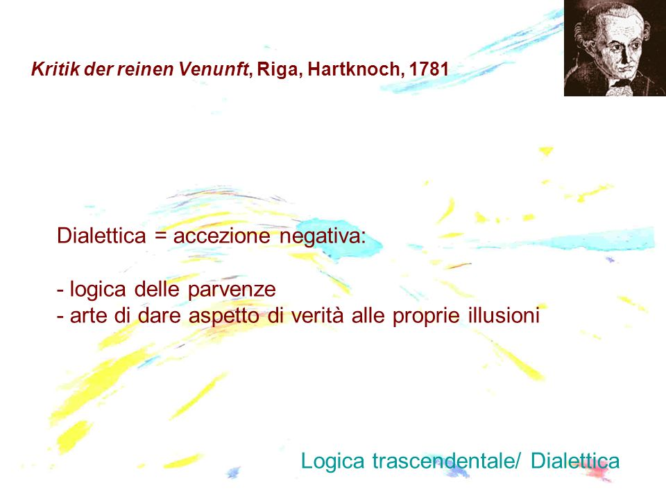 Kritik der reinen Venunft, Riga, Hartknoch, 1781 Dialettica = accezione negativa: - logica delle parvenze - arte di dare aspetto di verità alle propri