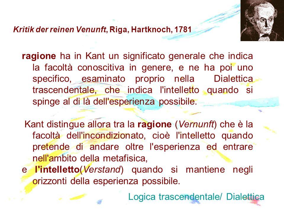 Kritik der reinen Venunft, Riga, Hartknoch, 1781 ragione ha in Kant un significato generale che indica la facoltà conoscitiva in genere, e ne ha poi u