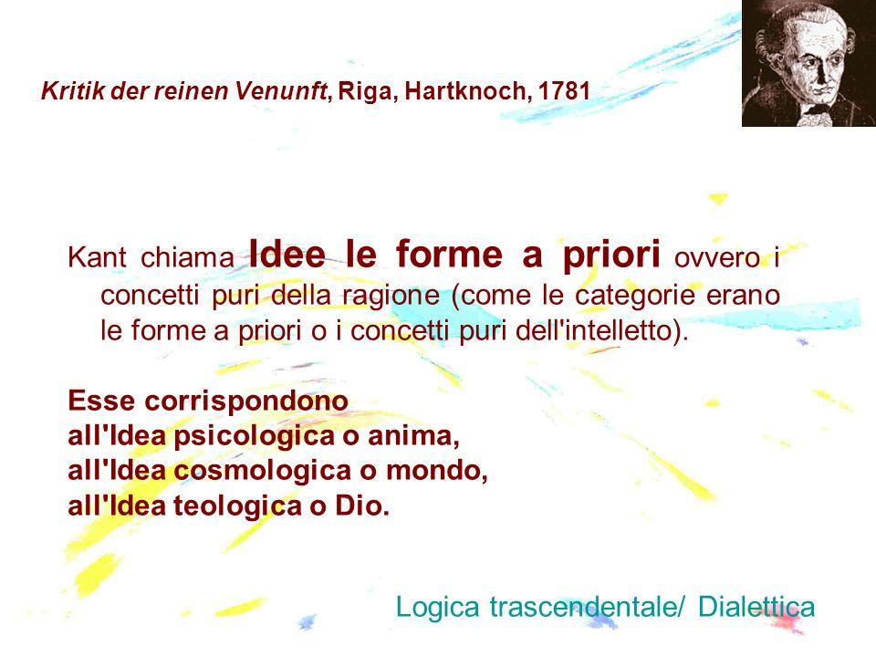 Kritik der reinen Venunft, Riga, Hartknoch, 1781 Kant chiama Idee le forme a priori ovvero i concetti puri della ragione (come le categorie erano le f