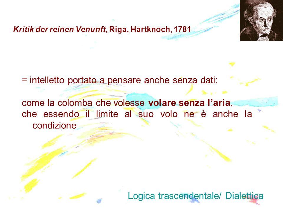 Kritik der reinen Venunft, Riga, Hartknoch, 1781 = intelletto portato a pensare anche senza dati: come la colomba che volesse volare senza laria, che
