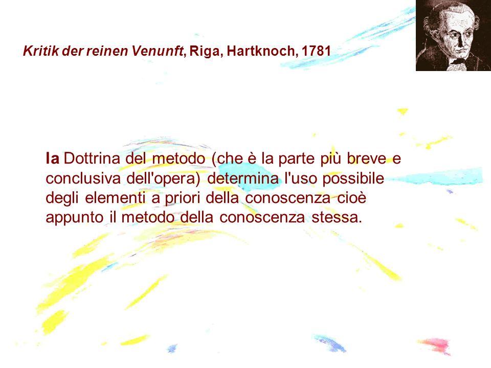 Kritik der reinen Venunft, Riga, Hartknoch, 1781 la Dottrina del metodo (che è la parte più breve e conclusiva dell'opera) determina l'uso possibile d