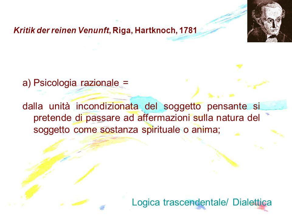 Kritik der reinen Venunft, Riga, Hartknoch, 1781 a)Psicologia razionale = dalla unità incondizionata del soggetto pensante si pretende di passare ad a