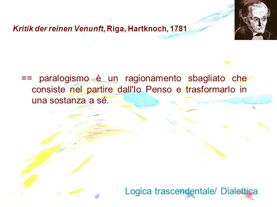 Kritik der reinen Venunft, Riga, Hartknoch, 1781 == paralogismo è un ragionamento sbagliato che consiste nel partire dall'Io Penso e trasformarlo in u
