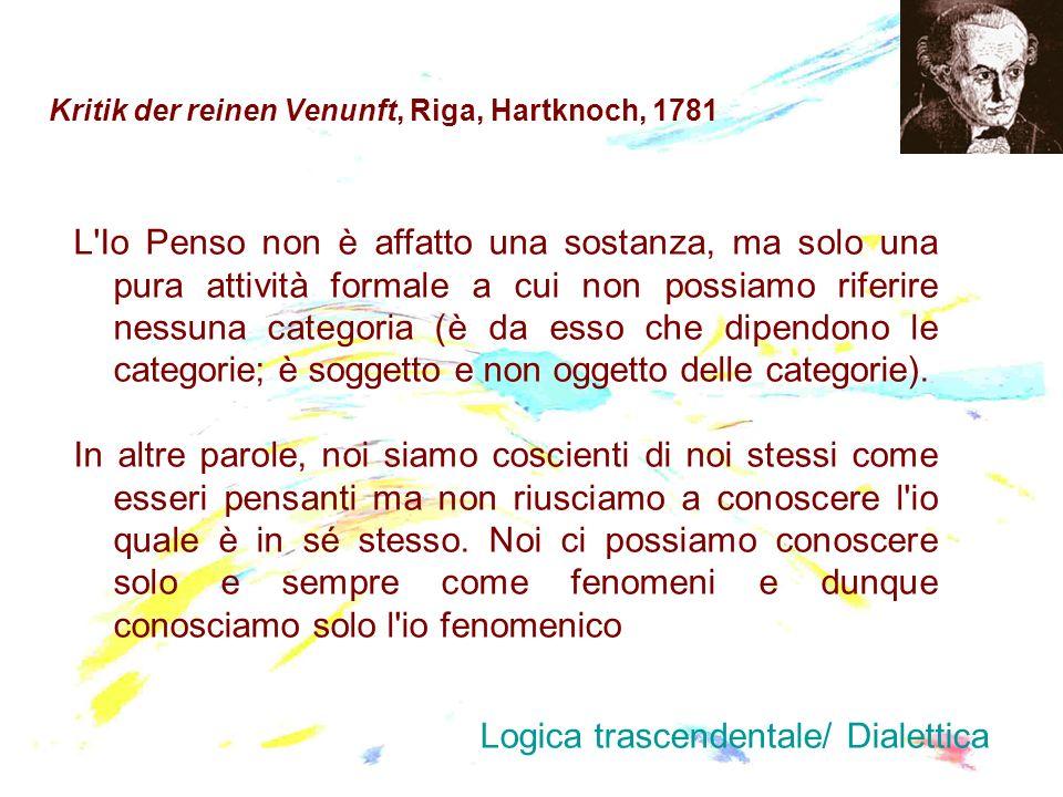 Kritik der reinen Venunft, Riga, Hartknoch, 1781 L'Io Penso non è affatto una sostanza, ma solo una pura attività formale a cui non possiamo riferire