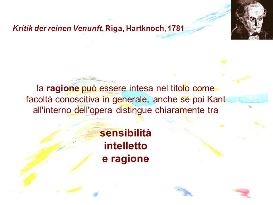 Kritik der reinen Venunft, Riga, Hartknoch, 1781 la ragione può essere intesa nel titolo come facoltà conoscitiva in generale, anche se poi Kant all'i