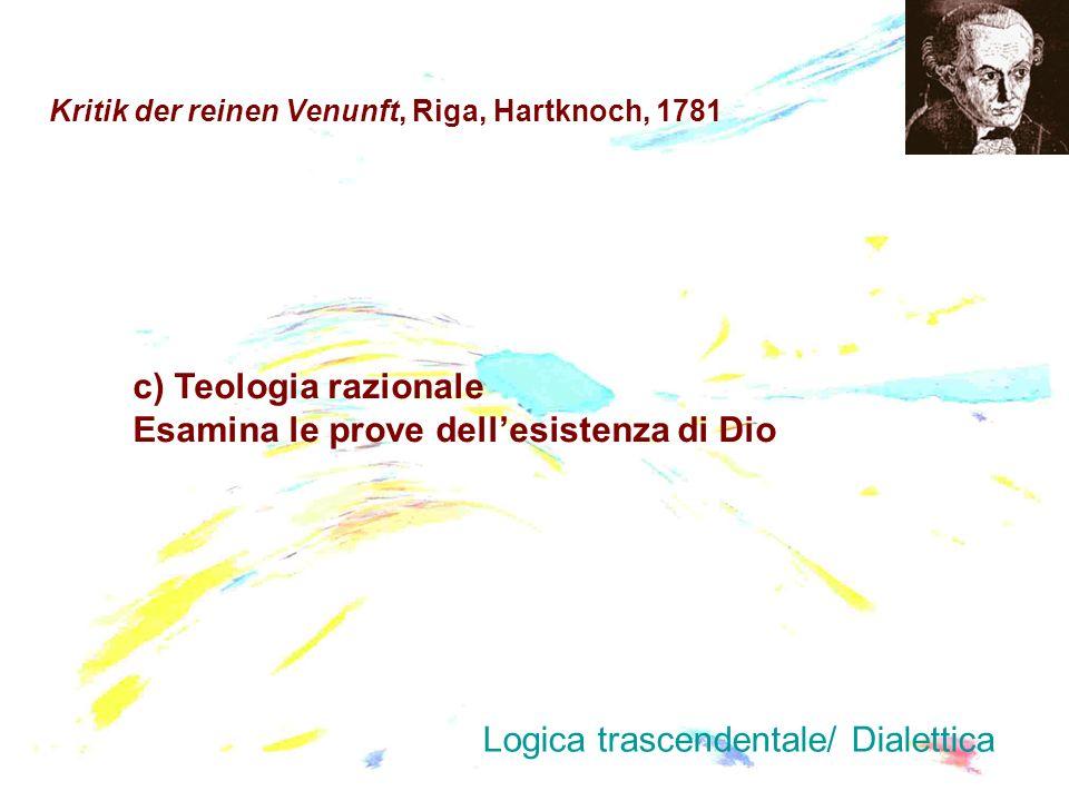 Kritik der reinen Venunft, Riga, Hartknoch, 1781 c) Teologia razionale Esamina le prove dellesistenza di Dio Logica trascendentale/ Dialettica