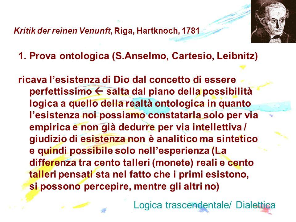 Kritik der reinen Venunft, Riga, Hartknoch, 1781 1.Prova ontologica (S.Anselmo, Cartesio, Leibnitz) ricava lesistenza di Dio dal concetto di essere pe