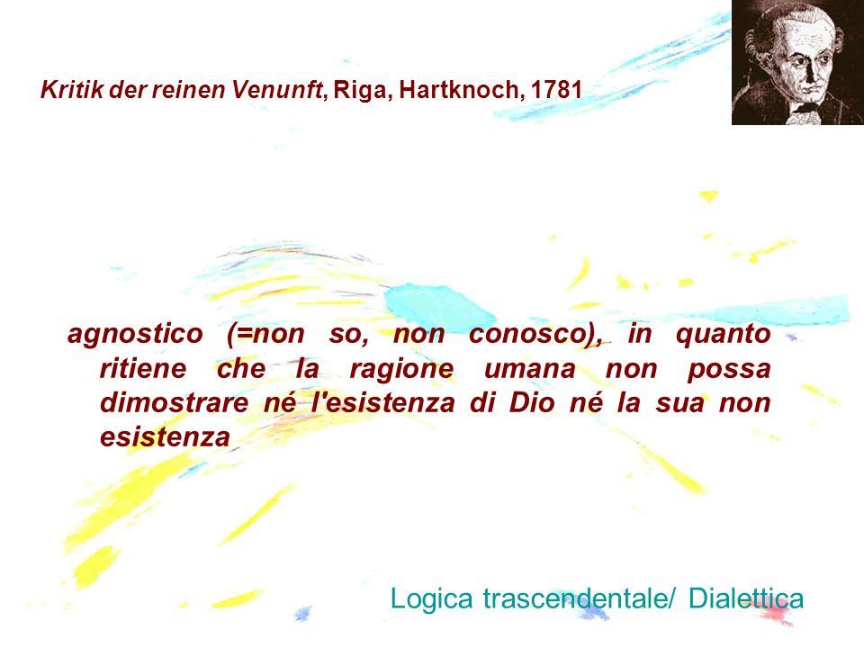 Kritik der reinen Venunft, Riga, Hartknoch, 1781 agnostico (=non so, non conosco), in quanto ritiene che la ragione umana non possa dimostrare né l'es