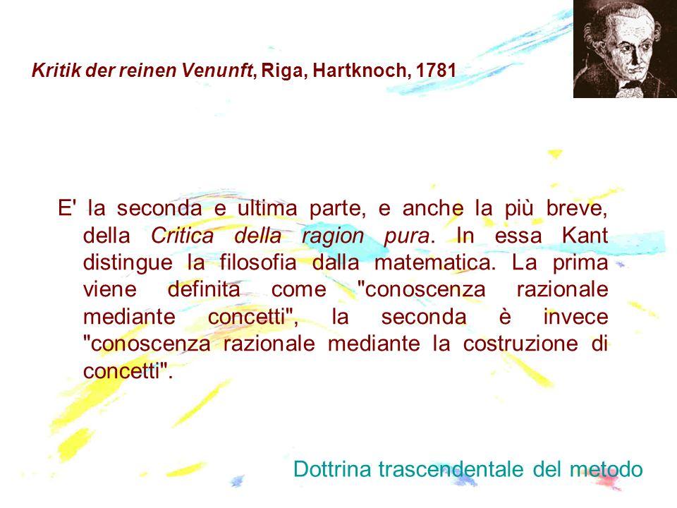 Kritik der reinen Venunft, Riga, Hartknoch, 1781 E' la seconda e ultima parte, e anche la più breve, della Critica della ragion pura. In essa Kant dis