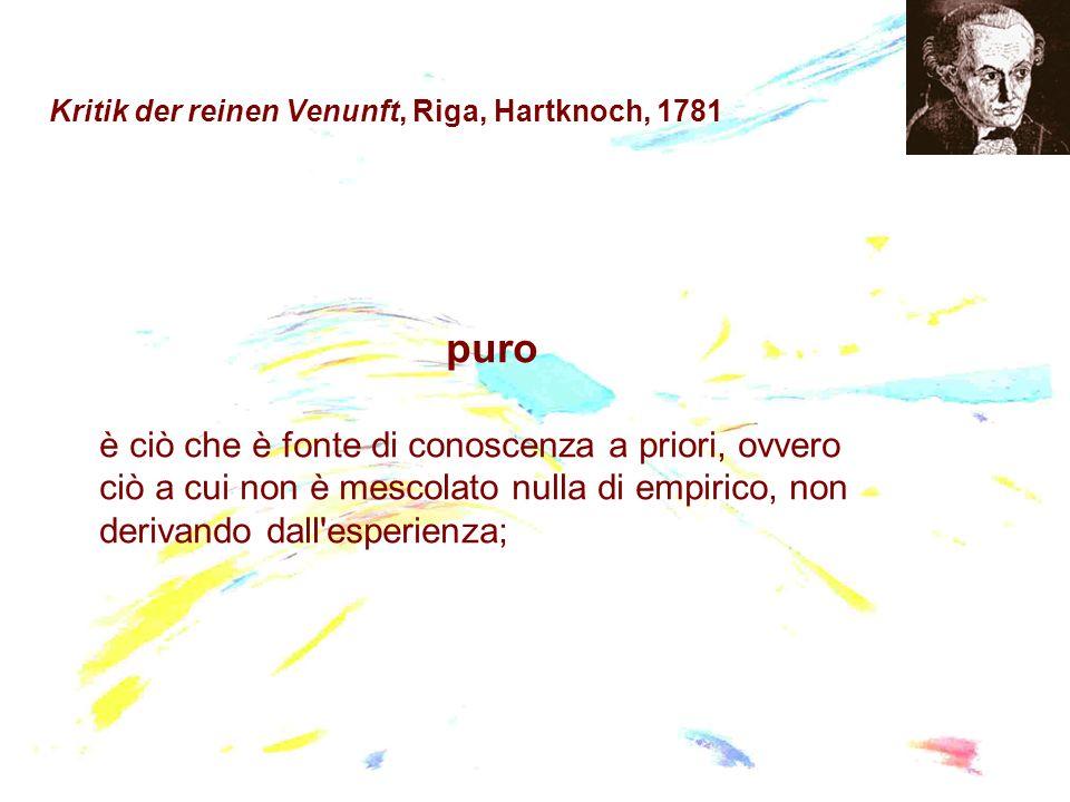 Kritik der reinen Venunft, Riga, Hartknoch, 1781 puro è ciò che è fonte di conoscenza a priori, ovvero ciò a cui non è mescolato nulla di empirico, no