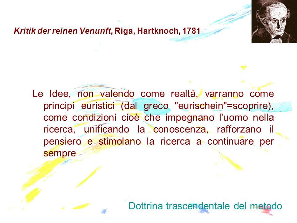 Kritik der reinen Venunft, Riga, Hartknoch, 1781 Le Idee, non valendo come realtà, varranno come principi euristici (dal greco