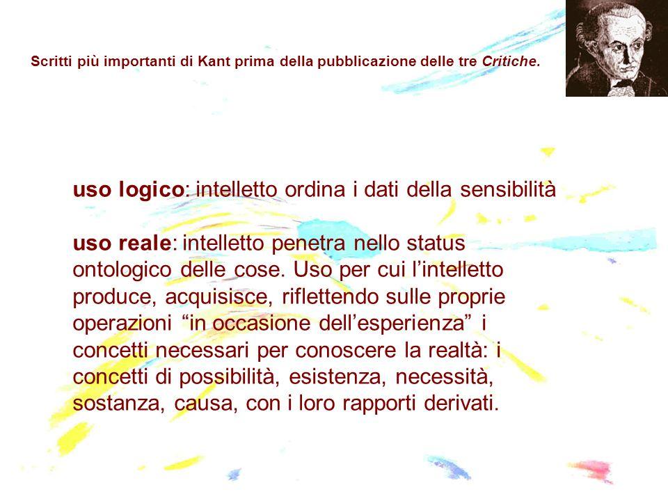 Scritti più importanti di Kant prima della pubblicazione delle tre Critiche. uso logico: intelletto ordina i dati della sensibilità uso reale: intelle