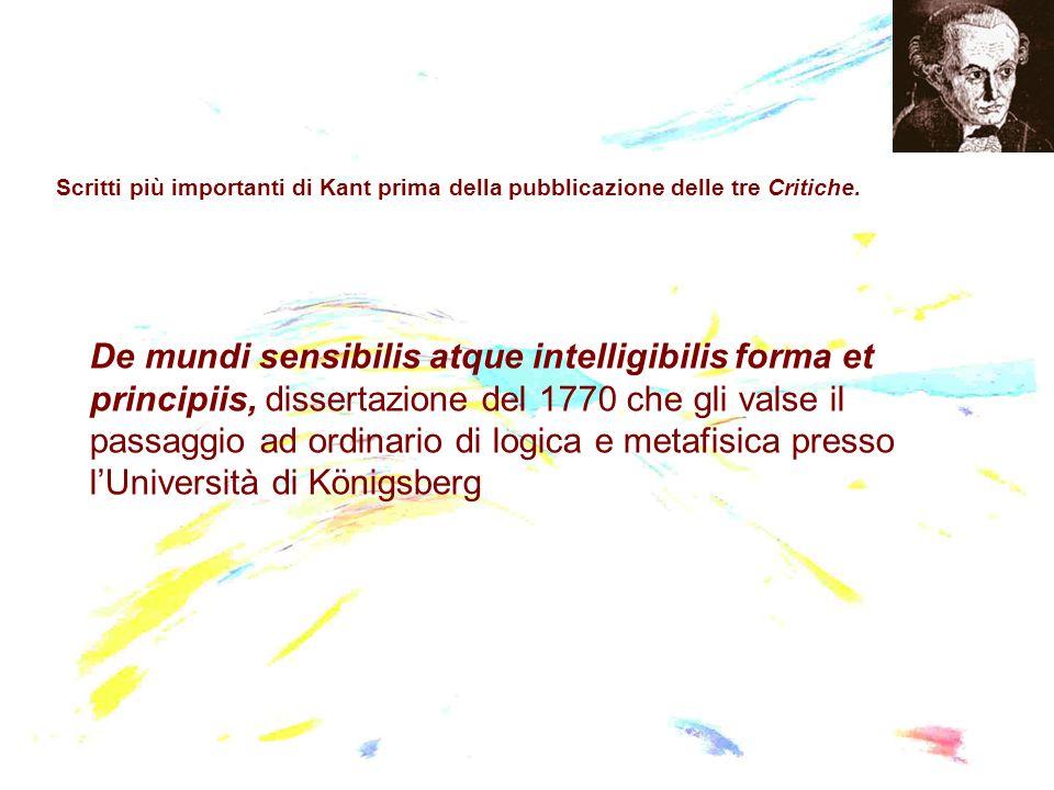 Scritti più importanti di Kant prima della pubblicazione delle tre Critiche. De mundi sensibilis atque intelligibilis forma et principiis, dissertazio